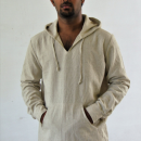 Mens Linen Hood Shirt With Front Pouch Pocket, Plus size.